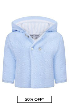 Tartine et Chocolat Baby Girls Blue Cotton Coat