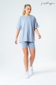 Hype. Grey Oversized T-Shirt And Cycle Shorts Set
