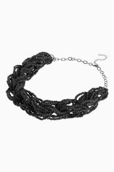 Black Beaded Plaited Necklace