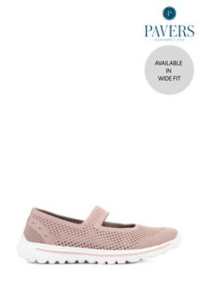 Pavers Pink Ladies Wide Fit Stretch Mary Jane Trainers