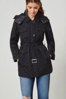 Black Belted Quilt Jacket