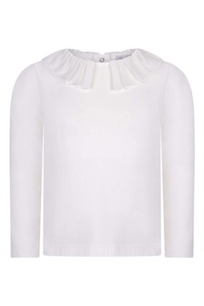 Girls Cream Cotton Long Sleeve Chiffon Collar Top