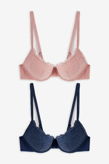 Navy/Pink Cara Push Up Plunge Lace Bras Two Pack