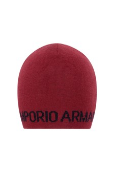 Boys Red Wool Logo Hat