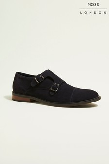 Moss London Elwood Navy Suede Double Buckle Toe Cap Monk Shoes