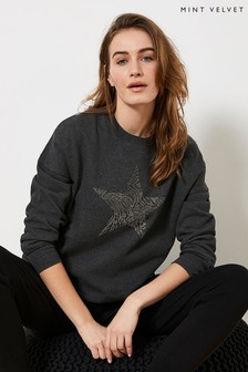 Mint Velvet Grey Studded Star Sweatshirt