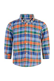 Baby Boys Navy & Orange Check Shirt