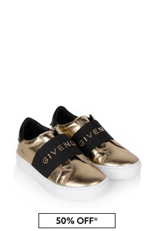 Girls Gold Leather Logo Trainers