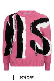 Girls Fuchsia Knitted Cropped Jumper