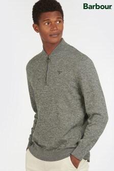 Barbour® Green Sports Half Zip Sweater