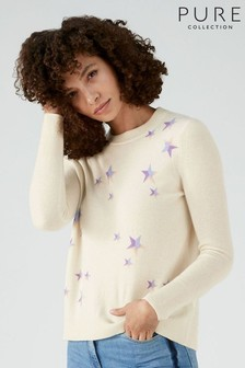 Pure Collection White Cashmere Curved Hem Boyfriend Sweater