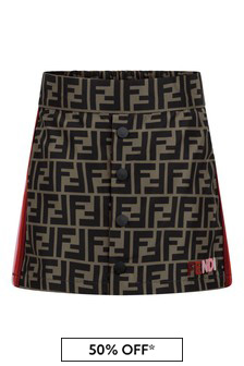 Girls Brown FF Logo Skirt