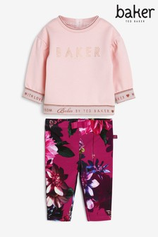Baker By Ted Baker Baby Girls' Pink Top And Leggings Set