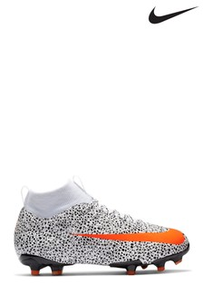 Nike White/Black Mercurial Superfly 7 Academy CR7 Multi Ground Junior And Youth Football Boots