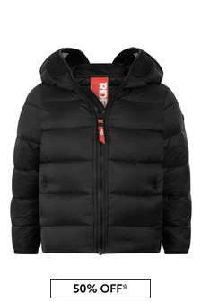Boys Black Down Padded Jacket With Lenses