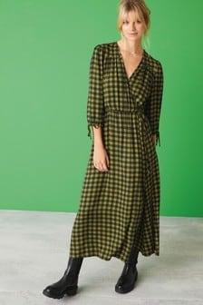 Green Check Maxi Wrap Dress