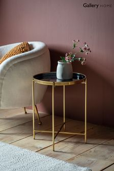 Valetta Black and Gold Side Table By Hudson Living