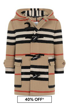 Boys Beige Icon Stripe Wool Coat