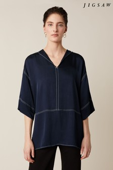 Jigsaw Blue Hammered Satin Tunic Top
