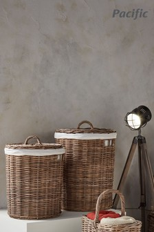 Set of 2 Round Lined Laundry Storage Baskets by Pacific