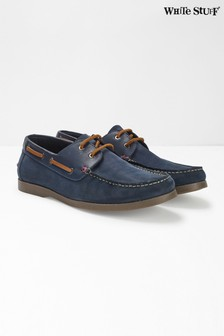 White Stuff Blue Mens Leather Boat Shoes