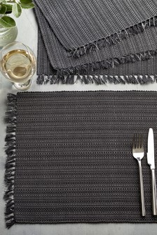 Set of 4 Silver Corded Placemats