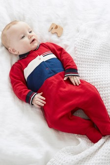 Red Polo Smart Single Sleepsuit (0mths-3yrs)