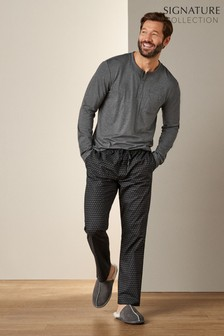 Grey/Black Signature Pyjama Set