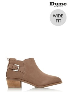 Dune London Wide Fit Piera Taupe Nubuck Buckle Side Zip Ankle Boots