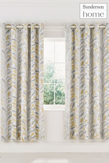 Sanderson Home Sea Kelp Lined Eyelet Curtains