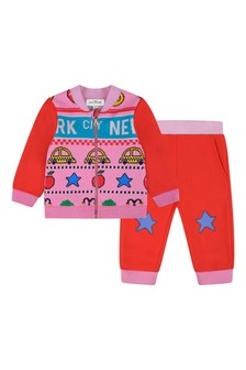 Marc Jacobs Baby Girls Red/Pink Cotton Tracksuit