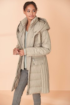 Stone Double Layer Long Padded Coat