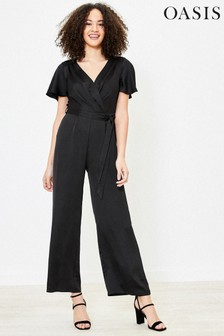 Oasis Black Satin Wrap Jumpsuit