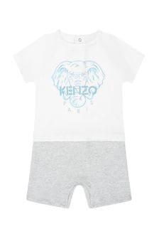 Kenzo Kids Baby Boys Grey Cotton Shortie Romper