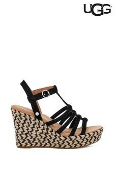 UGG® Black Suede Cressida Platform Wedge Sandals