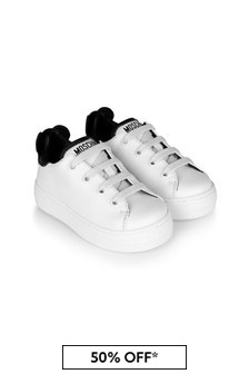 Kids White/Black Leather Teddy Trainers