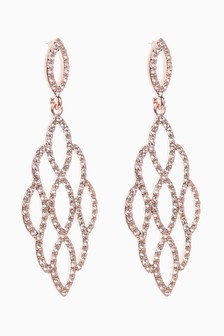 Rose Gold Tone Pavé Filligree Drop Earrings