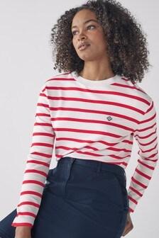 GANT Lava Red Breton Stripe Top