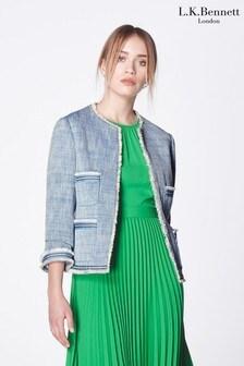L.K.Bennett Blue Sidney Tweed Jacket