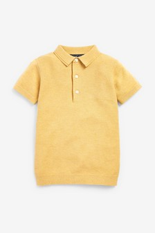 Lemon Textured Knitted Polo Shirt (3-16yrs)