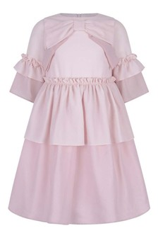 Girls Pink Tulle Long Sleeve Dress With Bows