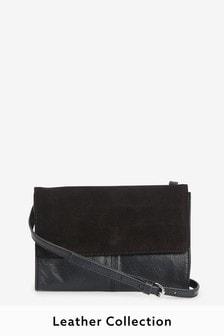 Black Leather Across Body Bag
