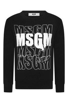 Boys Black Cotton Multi Logo Sweatshirt