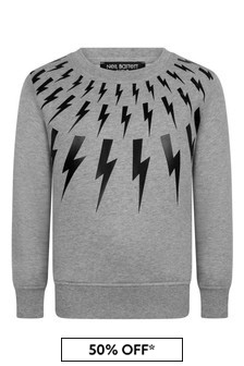 Boys Grey Cotton Logo Print Sweatshirt