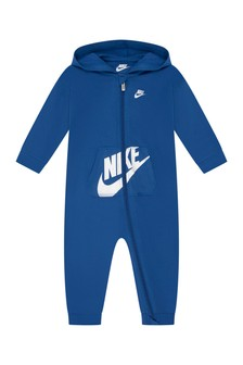 Baby Boys Blue Cotton Hooded Romper
