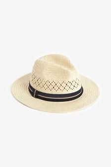 Natural Stripe Band Panama Hat