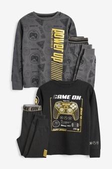 Black/Gold 2 Pack Gamer Pyjamas (3-16yrs)
