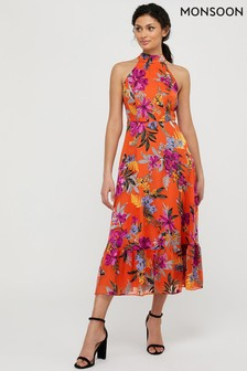 Monsoon Orange Trixie Burnout Tiered Dress