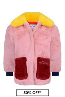 Girls Pink/Red Colourblock Faux Fur Coat