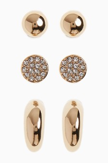 Gold Tone Hoop And Stud Earrings Three Pack